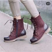 Войлочные ботинки женские с отделкой из натуральной кожи коричневые