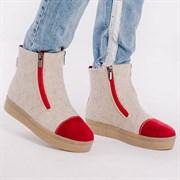 Войлочные ботинки с отделкой натуральной замши красный