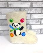 """Валенки детские с вышивкой """"Веселая панда"""" ручной работы - sale"""