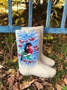 Валенки женские с росписью  «Снегирь» - sale
