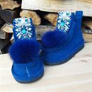 Валенки шитые войлочные синие на подошве с декором и мехом - 2