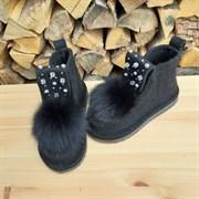 Валенки шитые войлочные на подошве черные с декором и меховой опушкой