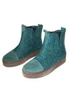 """Войлочные ботинки с отделкой натуральной замшей """"Мия"""" изумрудные"""