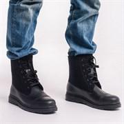 Мужские войлочные ботинки высокие черные. Натуральная кожа