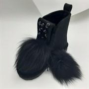 Валенки шитые высокие войлочные черные на подошве с декором и мехом