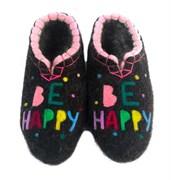 """Женские валяные тапочки """"Be happy"""" ручной работы"""