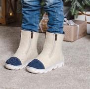 Детские войлочные ботинки бежевые с синим