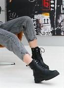 Женские ботинки-берцы черные, натуральная кожа