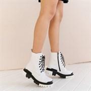 Женские ботинки-берцы белые, натуральная кожа