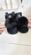 Валенки шитые войлочные на подошве со снежинкой и меховой опушкой, черные