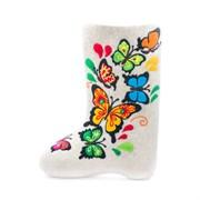 """Дизайнерские валенки """"Цветные бабочки"""" ручной работы"""